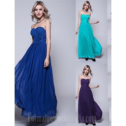 Long Floor-length Chiffon Bridesmaid Dress Ink Blue Pool Regency Black Burgundy Ruby Fuchsia Silver Jade Royal Blue