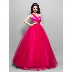 Prom Gowns Australia Formal Dress Evening Gowns Quinceanera Sweet 16 Dress Fuchsia Plus Sizes Dresses Petite Princess Ball Gown A Line Sexy One Shoulder Sweetheart