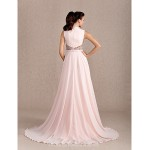 Australia Formal Dress Evening Gowns Pearl Pink Plus Sizes Dresses Petite A-line Princess Cowl Court Train Chiffon Formal Dress Australia