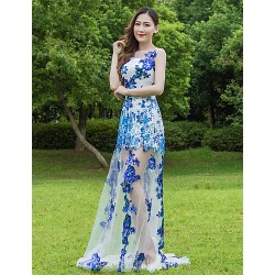 Australia Formal Evening Dress Pool A-line Jewel Long Floor-length Lace Dress Tulle