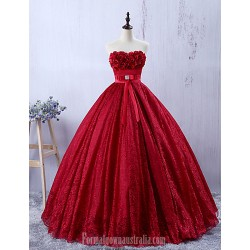 Australia Formal Dress Evening Gowns Burgundy A-line Sweetheart Long Floor-length Lace Dress
