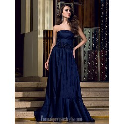 Australia Formal Dress Evening Gowns Dark Navy Plus Sizes Dresses Petite A-line Strapless Long Floor-length Taffeta