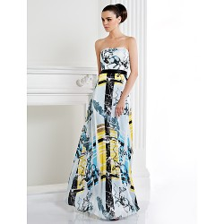 Australia Formal Dress Evening Gowns Print A-line Strapless Long Floor-length Satin Chiffon