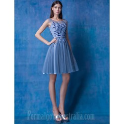 Australia Formal Dresses Cocktail Dress Party Dress Ocean Blue A Line Scoop Short Knee Length Lace Tulle