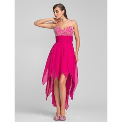 Australia Formal Dresses Cocktail Dress Party Dress Prom Dress Fuchsia Plus Sizes Dresses Petite A Line Spaghetti Straps Asymmetrical Chiffon