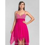 Australia Formal Dresses Cocktail Dress Party Dress Prom Dress Fuchsia Plus Sizes Dresses Petite A-line Spaghetti Straps Asymmetrical Chiffon Formal Dress Australia