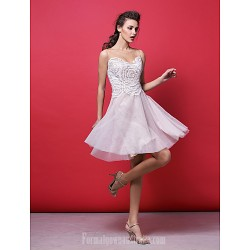 Australia Formal Dresses Cocktail Dress Party Dress Blushing Pink Plus Sizes Dresses Petite A-line Princess Jewel Short Knee-length Lace Tulle