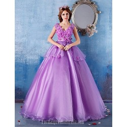 Australia Formal Dress Evening Gowns Lilac Ball Gown V Neck Long Floor Length Satin