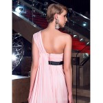 Australia Formal Dress Evening Gowns Blushing Pink Plus Sizes Dresses Petite A-line Sexy One Shoulder Chapel Train Chiffon Formal Dress Australia