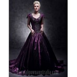 Australia Formal Dress Evening Gowns Quinceanera Sweet 16 Dress Grape Plus Sizes Dresses Petite Ball Gown A-line Princess V-neck Court Train Taffeta Formal Dress Australia