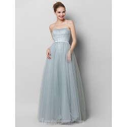 Australia Formal Dress Evening Gowns Silver A-line Strapless Long Floor-length Lace Dress Tulle