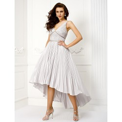 Homecoming  Australia Cocktail Party Dresses Prom Dress Ball Gown V-neck Asymmetrical Taffeta