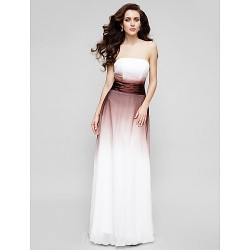 Australia Formal Dress Evening Gowns Multi-color A-line Strapless Long Floor-length Chiffon