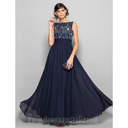 Prom Gowns Military Ball Australia Formal Evening Dress Dark Navy Plus Sizes Dresses Petite A-line Scoop Long Floor-length Chiffon
