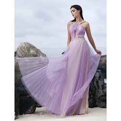 Australia Formal Dress Evening Gowns Lavender A-line Halter Long Floor-length Chiffon