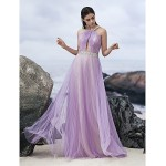 Australia Formal Dress Evening Gowns Lavender A-line Halter Long Floor-length Chiffon Formal Dress Australia