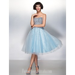 Australia Formal Dresses Cocktail Dress Party Dress Sky Blue A-line Sweetheart Short Knee-length Organza Tulle