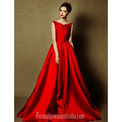 Australia Formal Dress Evening Gowns Burgundy Plus Sizes Dresses A-line Bateau Long Floor-length Satin