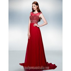 Australia Formal Dress Evening Gowns Burgundy Plus Sizes Dresses Petite A-line Jewel Court Train Chiffon