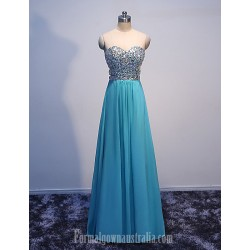 Australia Formal Dress Evening Dress Blue Princess Sweetheart Floor Length Chiffon With Crystals