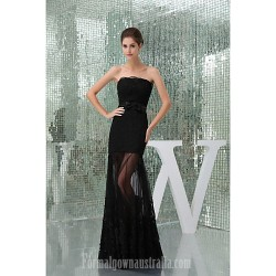Australia Formal Dress Evening Gowns Black Petite A-line Strapless Long Floor-length Lace Dress Tulle