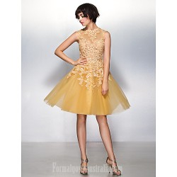 Australia Cocktail Party Dress Champagne A-line Jewel Short Knee-length Lace Tulle