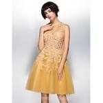 Australia Cocktail Party Dress Champagne A-line Jewel Short Knee-length Lace Tulle Formal Dress Australia