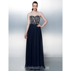 Australia Formal Evening Dress Dark Navy Plus Sizes Dresses Petite A-line Strapless Long Floor-length Chiffon