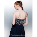 Australia Formal Dress Evening Gowns Dark Navy Plus Sizes Dresses Petite A-line Strapless Long Floor-length Chiffon Formal Dress Australia