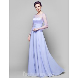 A-line Plus Sizes Dresses Petite Mother of the Bride Dress Lavender Long Floor-length Long Sleeve Chiffon Tulle