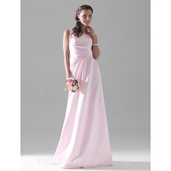 Long Floor Length Satin Bridesmaid Dress Blushing Pink Plus Sizes Dresses Petite A Line Scoop