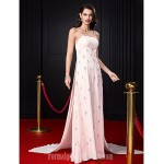 Australia Formal Dress Evening Dress-Pearl Pink A-line Spaghetti Straps Court Train Chiffon Formal Dress Australia