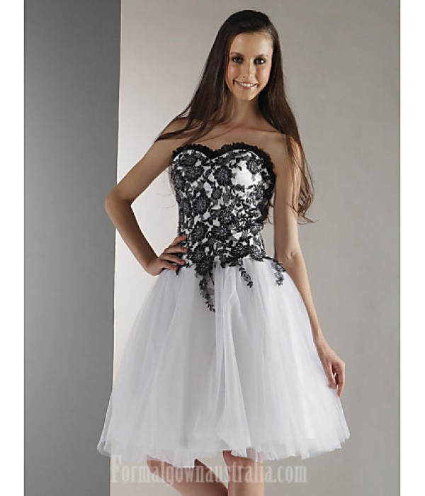 Australia Formal Dresses Cocktail Dress Party Dress Prom Gowns Graduation Holiday Sweet 16 Dress White Plus Sizes Dresses Petite Ball Gown Strapless Sweetheart Short Knee-length Formal Dress Australia