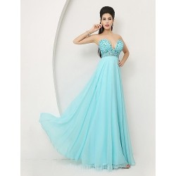Australia Formal Dress Evening Gowns Sky Blue A-line Sweetheart Long Floor-length Chiffon