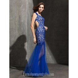 Australia Formal Dress Evening Gowns Royal Blue Plus Sizes Dresses Petite Fit Flare Sweetheart Long Floor Length Lace Dress Tulle