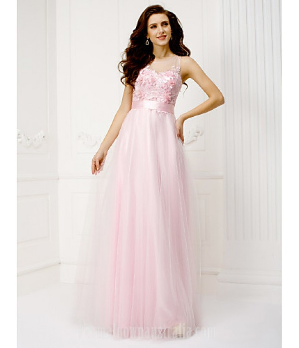 Australia Formal Dress Evening Gowns Candy Pink Plus Sizes Dresses Petite A-line Jewel Long Floor-length Tulle Dress Formal Dress Australia