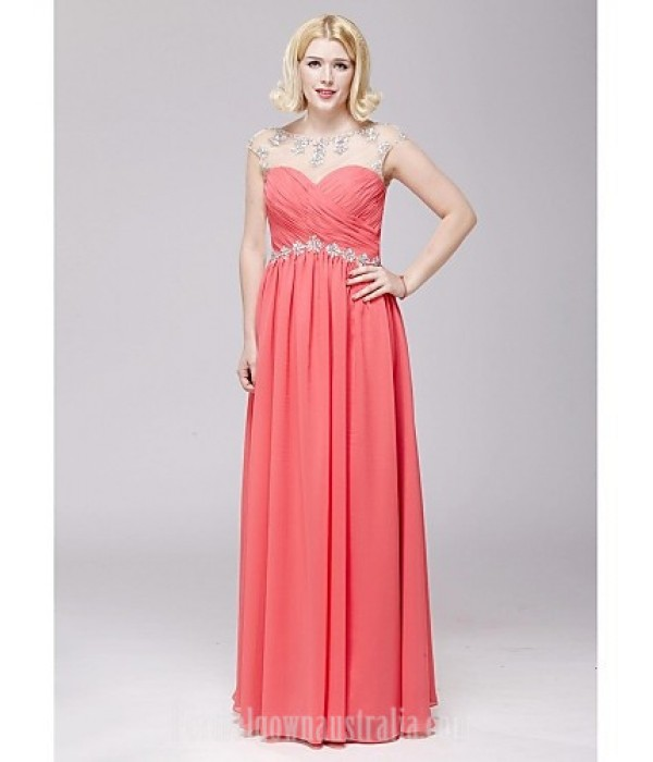 Australia Formal Dress Evening Gowns Watermelon A-line Scoop Long Floor-length Chiffon Formal Dress Australia