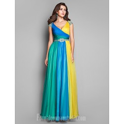 Australia Formal Dress Evening Gowns Prom Gowns Military Ball Dress Multi-color Plus Sizes Dresses Petite A-line Princess V-neck Long Floor-length Chiffon