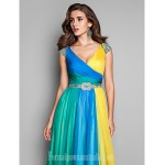 Australia Formal Dress Evening Gowns Prom Gowns Military Ball Dress Multi-color Plus Sizes Dresses Petite A-line Princess V-neck Long Floor-length Chiffon Formal Dress Australia