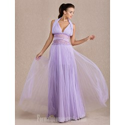 Australia Formal Dress Evening Gowns Prom Gowns Military Ball Dress Lavender Plus Sizes Dresses Petite A-line Halter Long Floor-length Chiffon Tulle