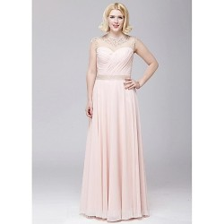 Australia Formal Dress Evening Gowns Blushing Pink A-line Jewel Long Floor-length Chiffon