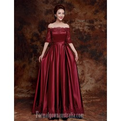 Australia Formal Dress Evening Gowns Burgundy A-line Bateau Long Floor-length Satin