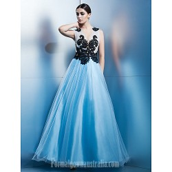 Australia Formal Dress Evening Gowns Sky Blue A Line Jewel Ankle Length Tulle
