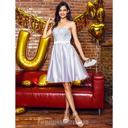 Australia Formal Dresses Cocktail Dress Party Dress Silver A Line Sweetheart Short Knee Length Tulle