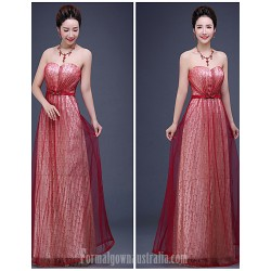 Australia Formal Dress Evening Gowns Burgundy A-line Sweetheart Long Floor-length Tulle Dress Sequined