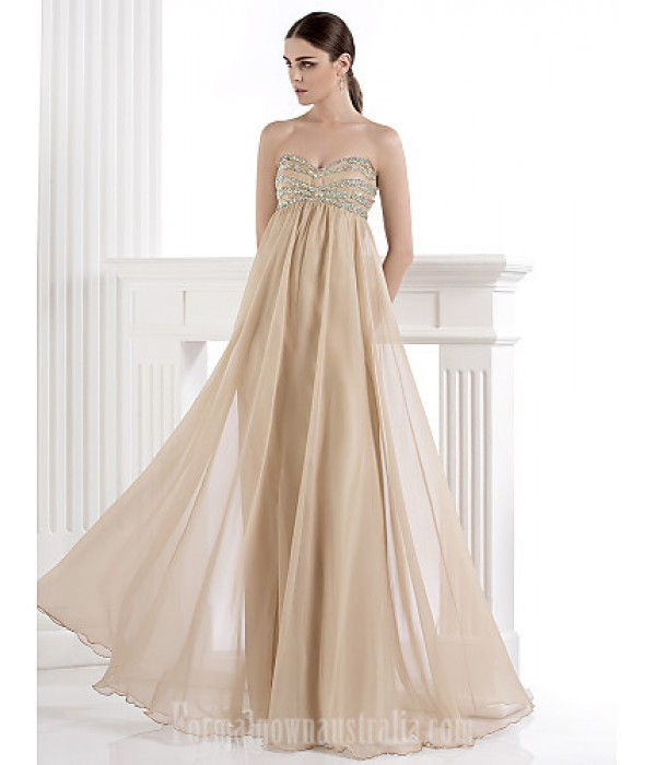 Australia Formal Dress Evening Gowns Champagne Plus Sizes Dresses Petite A-line Sweetheart Long Floor-length Chiffon Spandex Formal Dress Australia