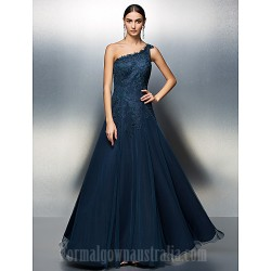 Prom Gowns Australia Formal Dress Evening Gowns Dark Navy Plus Sizes Dresses Petite A-line Sexy One Shoulder Long Floor-length Tulle Dress