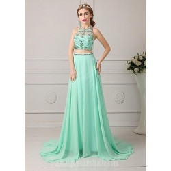 Australia Formal Dress Evening Gowns Clover Plus Sizes Dresses Petite A-line Jewel Long Floor-length Chiffon