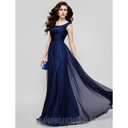 Australia Formal Dress Evening Gowns Holiday Dress Dark Navy Plus Sizes Dresses Petite A-line Princess Scoop Long Floor-length Chiffon