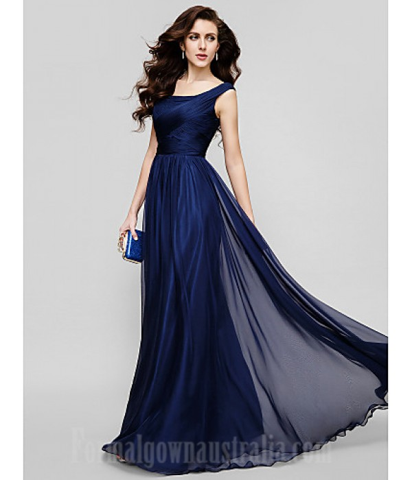 Australia Formal Dress Evening Gowns Holiday Dress Dark Navy Plus Sizes Dresses Petite A-line Princess Scoop Long Floor-length Chiffon Formal Dress Australia